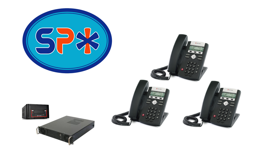 SPX VoIP Phone System w 3 Polycom SIP Telephones