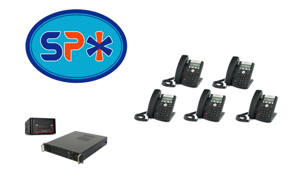 SPX VoIP Phone System w 5 Polycom SIP Telephones
