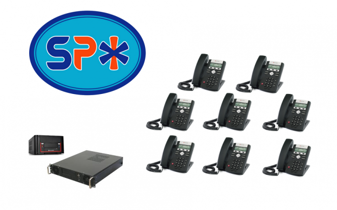 SPX VoIP Phone System w 8 Polycom SIP Telephones