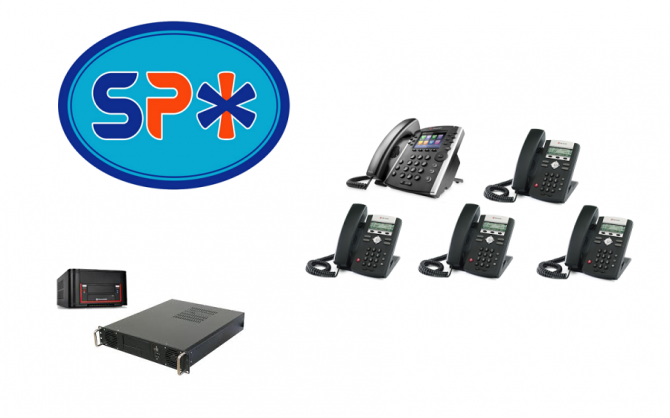 SPX VoIP Phone System w 1 Polycom VVX 400 Executive Phone and 4 Polycom 330 Staff model phones