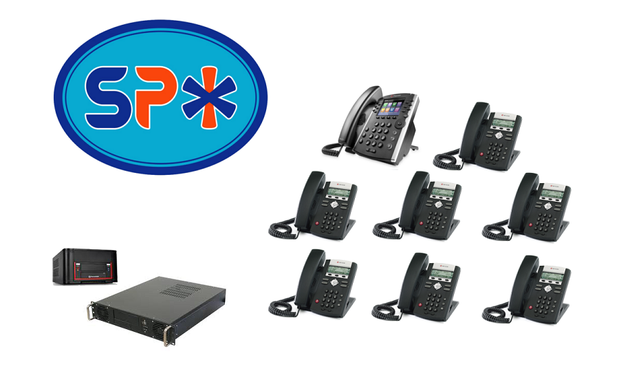 SPX VoIP Phone System w 1 Polycom VVX 400 Executive Phone and 7 Polycom 330 Staff model phones